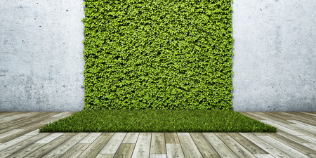 Inner courtyard with green fresh vertical garden and concrete wall. 3D illustration. Imagens - 111416851