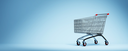 Empty shopping cart on blue background.  3D illustration.