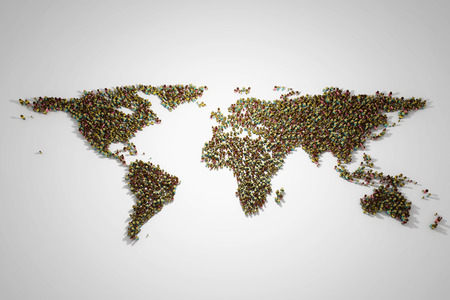 World map with people of different social and racial origins. 3D illustration. Фото со стока