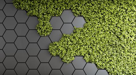 Fondo decorativo de jardín vertical verde. Ilustración 3D.