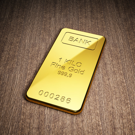 Gold bar on wooden background. Stock exchange and banking concept. 3D illustration.