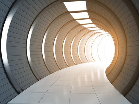 Túnel largo futurista con luz. Ilustración 3D.