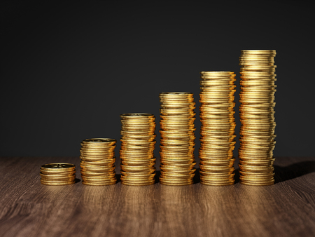 Gold coins in stack show growth. 3D illustration.