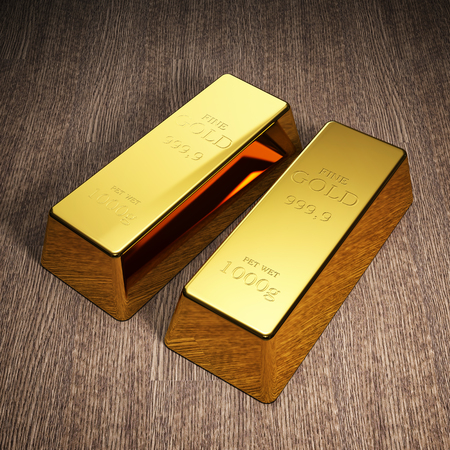 Gold bars on wooden background. Stock exchange and banking concept. 3D illustration. Banco de Imagens