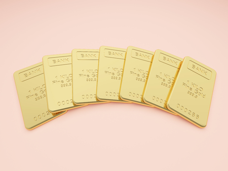 Gold bars on cream background. Stock exchange and banking concept. 3D illustration.