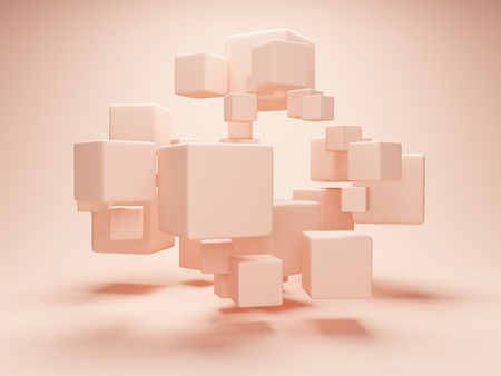 Abstract geometric shapes from cubes in cream style. 3D illustration.