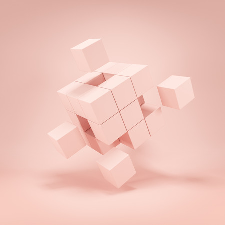 Abstract puzzle of cubes in cream tone. 3D illustration.