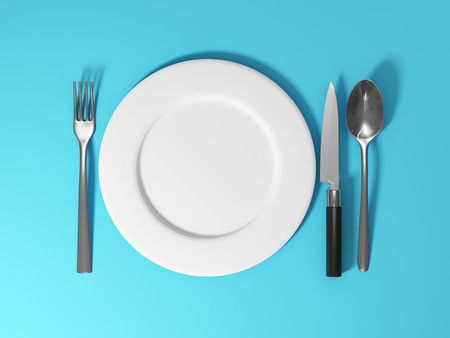 Dishes and cutlery on blue background. 3D illustration. Stock Photo
