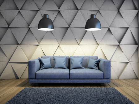Sofa in living room with concrete wall. 3D illustration.