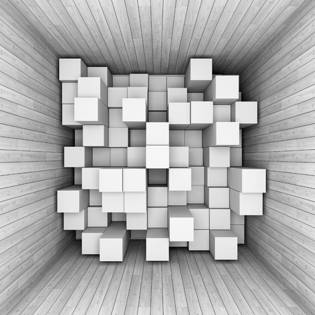 Abstract background  of cubes in tunnel. 3D illustration.