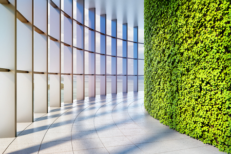 Office building with large panoramic windows and vertical green garden. 3D illustration.
