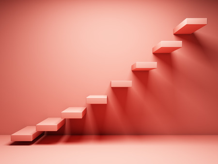 Abstract stairs in interior in coral tone. 3D illustration.