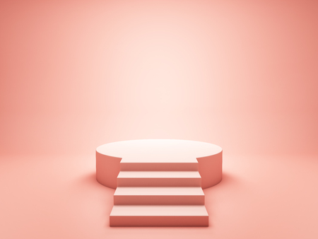 Podium for winner in coral tone. 3D illustration.