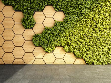 Parete in interni moderni con giardino verde verticale. illustrazione 3D. Archivio Fotografico