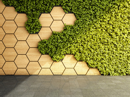 Wall in modern interior with vertical green garden. 3D illustration. 版權商用圖片 - 116812050