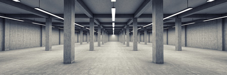 Empty underground parking area. 3D illustration.
