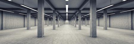 Parking souterrain vide. illustration 3D.