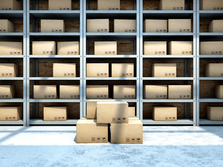 Warehouse with boxes on racks. 3D illustration.
