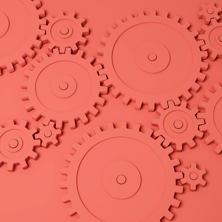 Gear wheels on coral background. 3D illustration.