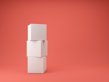 Abstract concept of white cubes on coral background. 3D illustration.