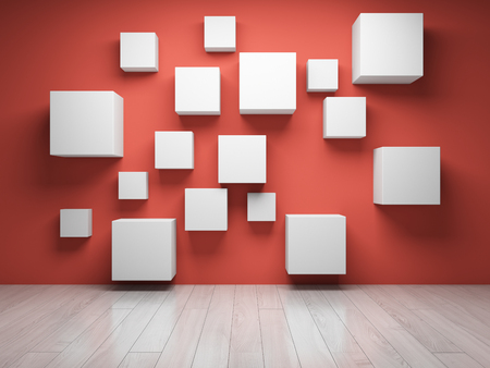 Concept of empty information blocks in room with coral wall. 3D illustration.