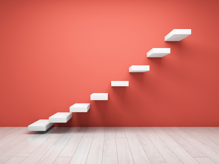 Abstract stairs on wall in coral tone. 3D illustration. Stock Illustration - 116812138