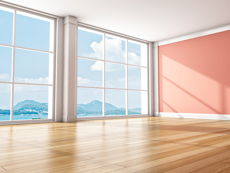 Interior modern room with large window. 3D illustration.