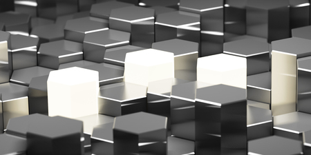 Background of metal hexagonal blocks with bright key elements. 3D illustration.