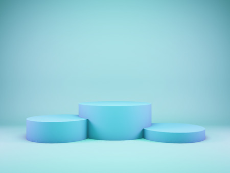 Podium for winner in blue tone. 3D illustration.