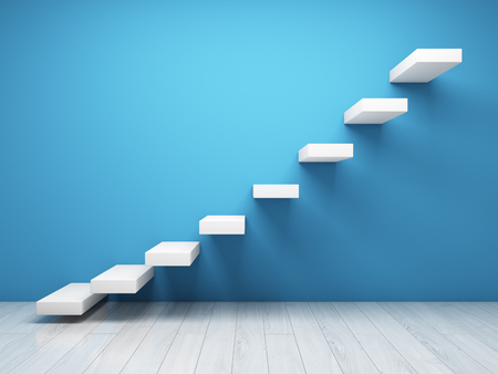 Abstract stairs on wall in blue tone. Concept of successful business. 3D illustration.