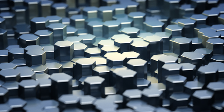 Background of metal hexagonal blocks with focus on bright elements. 3D illustration.