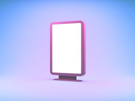 Blank advertising billboard in neon light. 3D illustration.