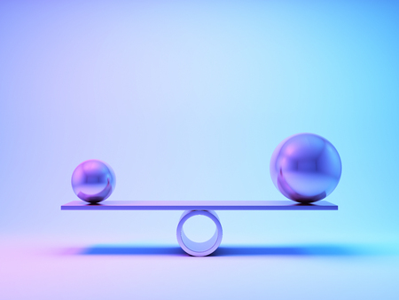 Balancing steel balls in neon lighting. 3D illustration.