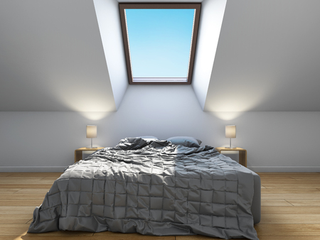 Bedroom interior design in scandinavian style with mansard window. 3D illustration.