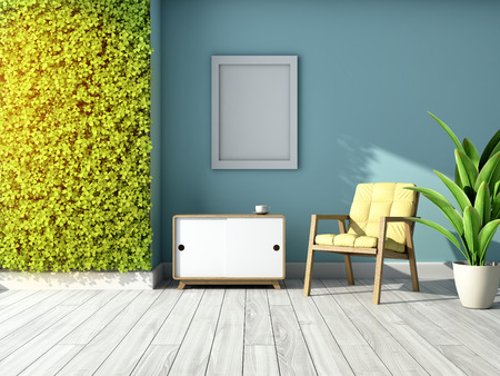 Interior of room with green wall of vertical gardens and furniture. 3D illustration.