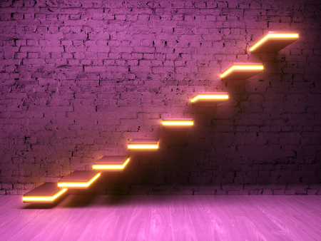 Stairs on brick wall with neon light. Concept of successful business. 3D illustration.