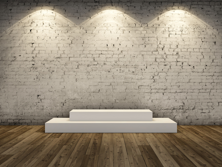 Stand for product in spotlight on brick wall background. 3D illustration.