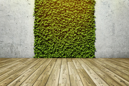 Inner courtyard with green fresh vertical garden and concrete wall. 3D illustration. 写真素材 - 120401657