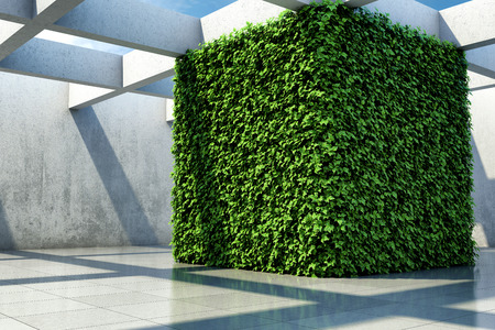 Large demonstration hall with vertical garden walls. 3D illustration.