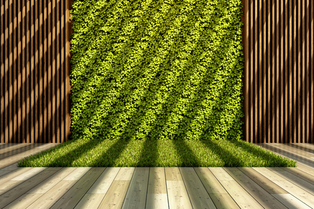 Inner courtyard with green vertical garden and grass. 3D illustration.