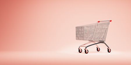 Empty shopping cart on coral background.  3D illustration. Stok Fotoğraf
