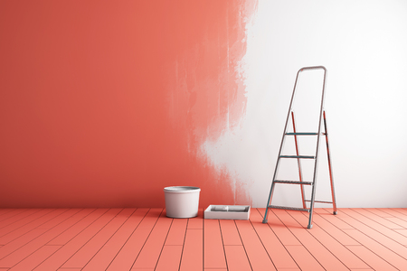 Repair of room, painting walls in coral color. 3D illustration. Imagens
