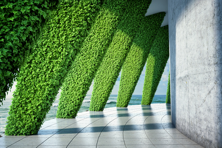 Architectural design of modern hall with large panoramic windows and vertical green garden. 3D illustration.
