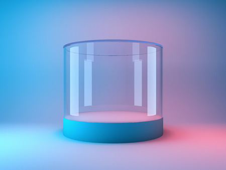 Empty glass showcase for product in neon lighting. 3D illustration.