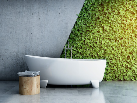 Modern bathroom with vertical garden. 3D illustration.