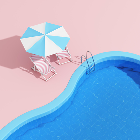 Swimming pool with lounge chairs and umbrella in pink style. 3D illustration.