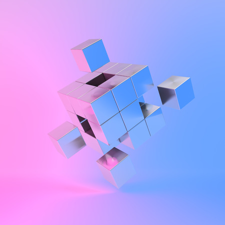 Metal cube with key elements in neon lighting. 3D illustration.