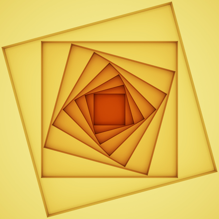Abstract yellow background with squares twisted in spiral. 3D illustration. Stock Photo