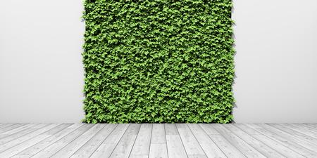 Jardín vertical fresco verde en la pared con piso de madera. Ilustración 3D.