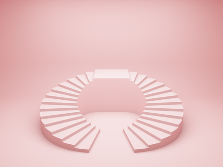 Abstract stairs with podium in minimal style on pink background. 3D illustration.